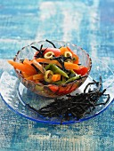 Hiziki seaweed,pepper,carrot and green olive salad