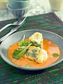 Green peppers stuffed with salt-cod, creamy tomato and Cognac sauce