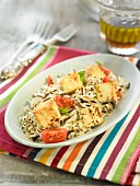 Basmati rice,wild rice,tofu,luzerne sprout and tomato salad