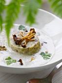Chestnut Flan in creamy chanterelle sauce