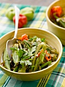 Okra and chili pepper salad