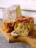 Cantal,raw ham and mushroom savoury cake from Auvergne