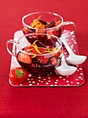 Strawberries in red wine wine cinnamon and orange zests