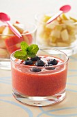 Strawberry gazpacho with blueberries