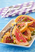 Pomelos with pistachios and lavander oil