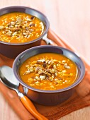Orange lentil soup with roasted hazelnuts