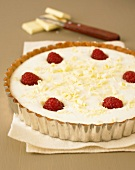 White chocolate and raspberry tart