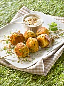 Turkey meatball and chervil brochettes,yoghurt and crushed almond dip