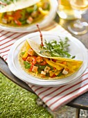 Grilled vegetable and spicy tofu tortillas