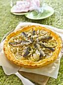 Sardine,fennel,lemon zest and fennel seed savoury tart