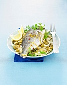 Sea bream with fennel and oilves