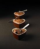Heart-shaped chocolate fondants