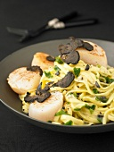 Pasta with scallops and truffles