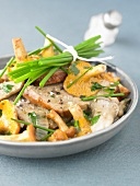 Roast pork with mushrooms