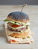 Hamburger in a poppyseed bun