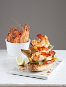 Shrimp and mixed pepper open sandwiches