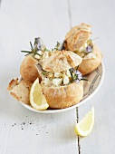 Feta,sardine and rosemary bread buns