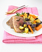 Lamb and root vegetables with rosemary