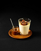 Panna cotta with balsamic caramelized walnuts