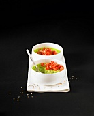 Avocado panna cotta with diced tomatoes and sesame