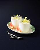 Lime and grapefruit yoghurts