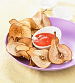 Pear crisps with strawberry puree
