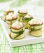 Zucchini, Parma ham and rice appetizers