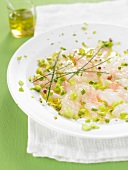 Dublin Bay prawn carpaccio with crushed pistachios