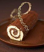 Chocolate rolled log cake