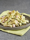Fusillis with pistachios and diced ham
