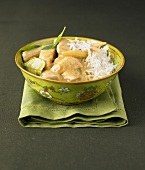 Chicken green curry with basmati rice