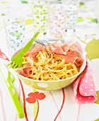 Linguini with Parma ham