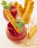 Creamed beetroot dip with bread sticks