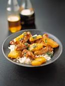 Sauteed pork with pineapple and basmati rice