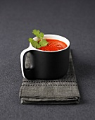 Cream of red pepper soup with cilantro