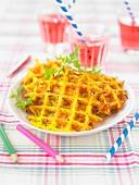 Vegetable and Comté savoury waffles