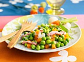 Peas and carrots with diced bacon