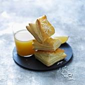 Coconut-mango mini flaky pastry puffs