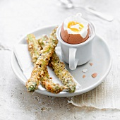 Soft-boiled egg with breaded asparagus
