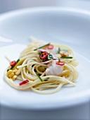Spaghettis with Dublin Bay prawns and raw ham