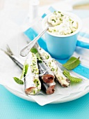 Sardines stuffed with cream cheese and mint
