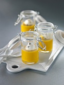 Cream of pumpkin soup served in mini glass jars