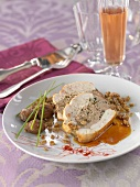 Roast turkey stuffed with crumbled chestnuts