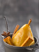 Stewed pear in spicy honey gingerbread