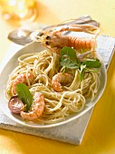 Spaghetti with Dublin Bay prawns, pink garlic and baby spinach leaves