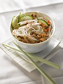 Rice noodles with caramelized ground beef