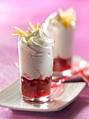 Stewed pomegranate, whipped cream and candied orange zest Verrines
