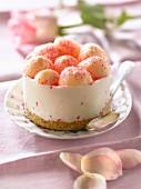 Individual lychee and rose cheesecake