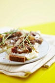 Grilled Mont d'Or and lamb open sandwich