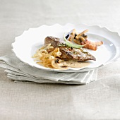 Veal liver with creamy onions and mushrooms